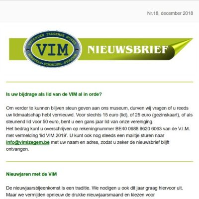 VIM Nieuwsbrief 18
